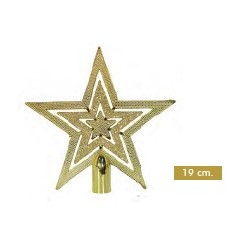Punta Árbol Estrella Oro 19cm