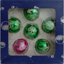 Bolas Verde y Rosa Decoradas 5cm (6 unidades)