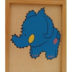Juego de madera con cordones-Elefante