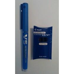 Bolígrafo Pilot V5 Azul + Recambio