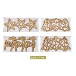 Caja Figuras Glitter Dorado (6 unidades)