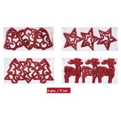 Caja Figuras Glitter Rojo (6 unidades)