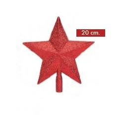 Punta Árbol Estrella Glitter Rojo 20cm