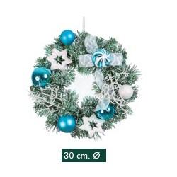 Corona Decorada Bolas Azules 30cm
