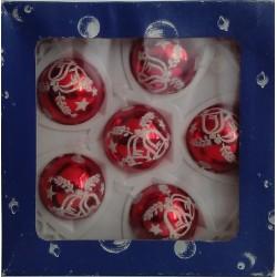 Bolas Rojas Decoradas 5cm (6 unidades)