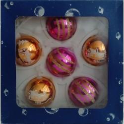 Bolas Rosa y Dorado 5cm (6 unidades)