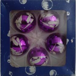 Bolas Lila Decoradas 6cm (5 unidades)