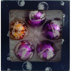 Bolas Lila y Dorada Decoradas 6cm (5 unidades)