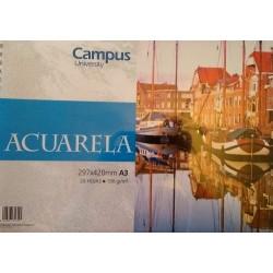 Bloc Acuarela A3 190g Campus